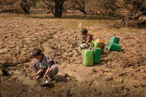 fetching water at drying marsh_RT